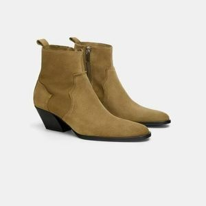 ZARA COWBOY ANKLE Boots Suede Leather 10/41 NEW